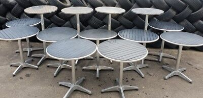 13 x aluminium cafe tables and bar tables - round timber tops