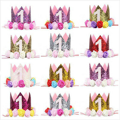 Cute Girls First 1st Birthday Party Crown Hat Headband With Unicorn Cake Topper