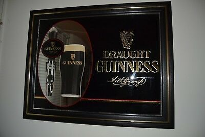 Guinness Stout Draught Bar Pub Mirror Sign - Great Condition