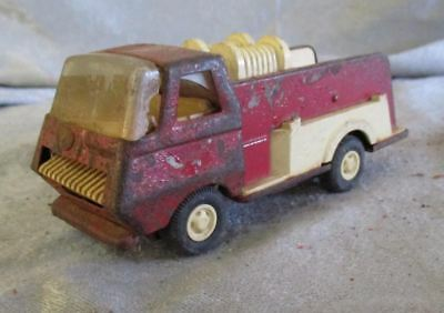 "Vintage Tonka Red Fire Truck Pumper Pressed Steel & Plastic Toy 6.5"" Length"