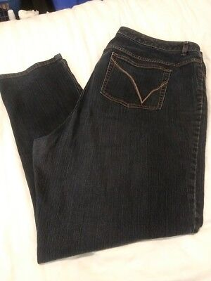 LANE BRYANT Womens Plus Size 7 YELLOW SQUARE STRAIGHT LEG Jeans Stretch 46X31