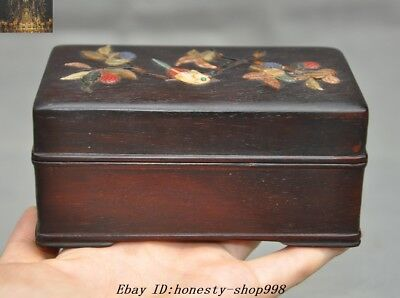 Chinese Dynasty Rosewood Wood inlay Shell flower bird Jewelry Boxes storage box