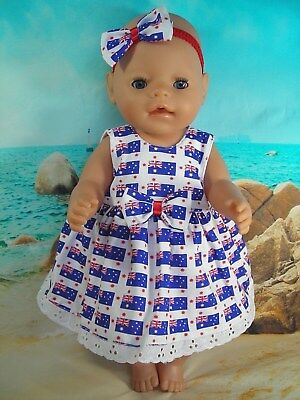 """Dolls clothes for 17"""" Baby Born/16'' Cabbage patch Doll~AUSTRALIA DAY FLAG DRESS"""
