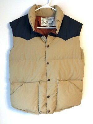Vintage William Barry Men's Size S Tan And Navy Down Vest Made in USA
