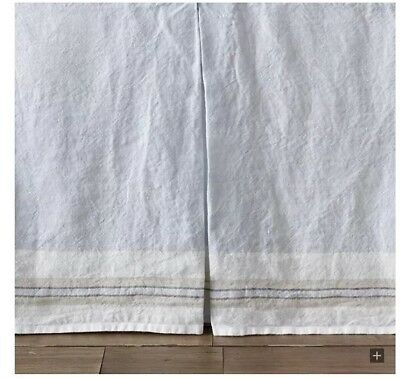 Restoration Hardware Baby & Child Washed Organic Linen Stripe Crib Skirt Blue