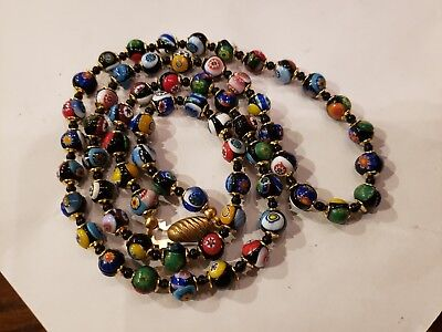 """Vintage 1950s Venetian Murano Glass Bead Necklace 30"""" Red Black Blue Yellow Gold"""