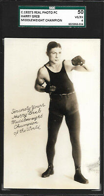 HARRY GREB 1920s Real Photo Boxing Postcard SGC 50 World Middleweight Champion