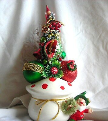 Vtg Christmas Ornaments Elf Mushroom Napco Planter Rhinestone Jewelry