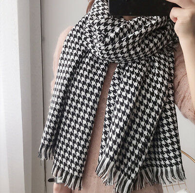 NEW Houndstooth Black & White Scarf / Shawl