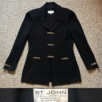 Women St. John Collection By Marie Gray Sweater Jacket Size 12 Gold Black