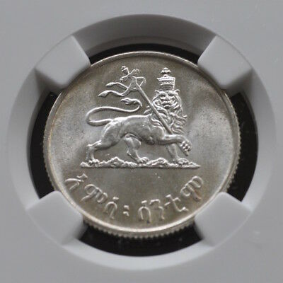 Ethiopia Silver 50C, Ethiopia Lion On Obverse Graded Ngc Ms64, 9 With 4 Higher.