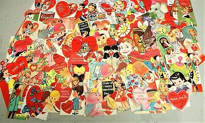 Lot Of 70 Nos Vintage Childrens Die Cut Valentines, Great For Use Or Crafts