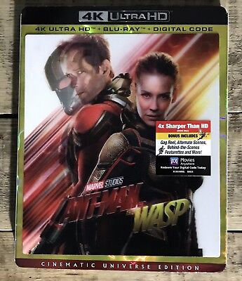 "ANT-MAN AND THE WASP 4K UHD + Blu-ray + Digital Code W/SLIP COVER ""BRAND NEW"""