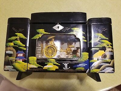 Vintage Asian Chinese Oriental Wooden Jewelry Music Box Wagon Originally Painted