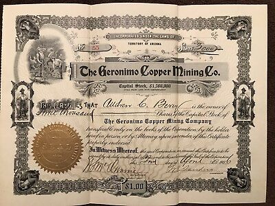 """Rare Antique Mining Stock Certificate, """"The Geronimo Copper Mining Co"""" AR, 1906"""