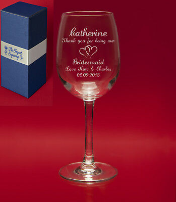 Personalised Engraved CRYSTAL Wine Glass with Beautiful Gift Box-Message+Image