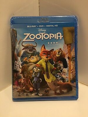 Brand New Walt Disney Zootopia Blu Ray & Dvd Animated Movie & Digital Hd 2016