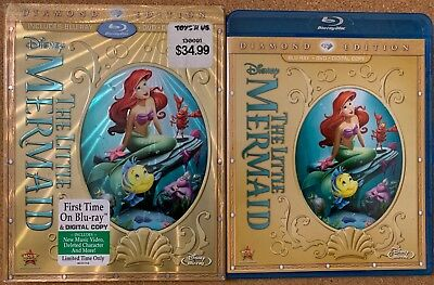 Disney The Little Mermaid Blu Ray Dvd 2 Disc Set + Gold Slipcover Sleeve Rareoop