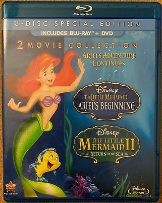 Disney The Little Mermaid Ariels Beginning & Return To The Sea Blu Ray Dvd 3Disc