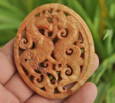 Chinese ancient old hard jade hand-carved pendant necklace ~Dragon and horse
