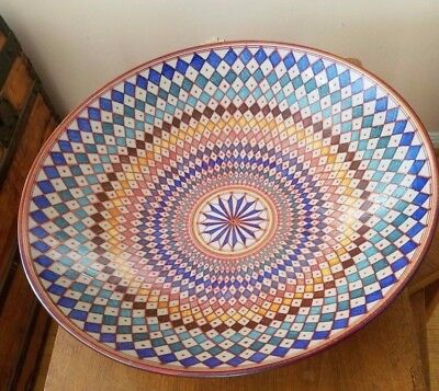 "Vignoli Faenza Italy Large Ceramic Bowl Diameter 20"" Vivid Colors"