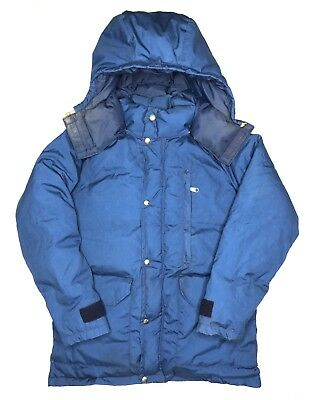 fdb36efea0 Vtg 80s The North Face Brown Label Goose Down Puffer Jacket Hood Sz XS Blue  TNF