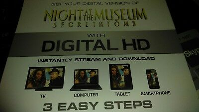 Night At The Museum Secret Of The Tomb Digital HD Ultraviolet Code Only No Discs