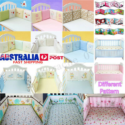 4/6Pcs Infant Baby Cotton Crib Bumper Nursery Bedding Cot Pillow Pad Protector