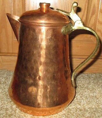 "Antique Hammered Copper Coffee pot with brass handle 8"" tall"
