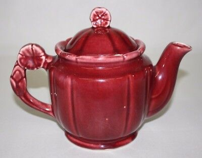 Shawnee Pottery Rosette Handle & Finial Vintage 1940s Red Burgundy Teapot 5 Cup