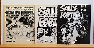 Wally Woods' SALLY FORTH 1, 3, 4. 1970s publications. All complete, clean.