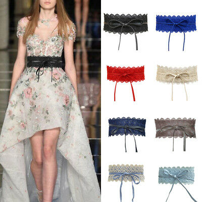 Women Fashion Floral Wide Waistband Lace Strap Waist Belts Band Dress Decor