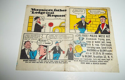 Blony bubble gum comic Archie Veronica # 1A-57-36 - 1957 - Extremely Rare!!