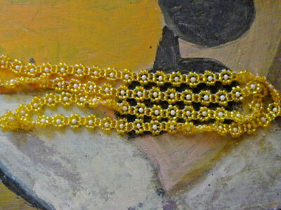 Vintage Necklace Glass Beaded Woven yellow flowers 1970s 79cm -NZ Estate