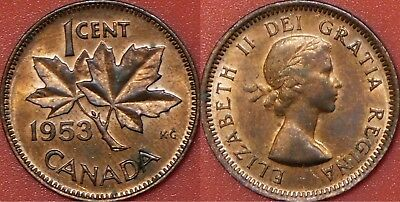 Brilliant Uncirculated 1953 Canada No Shoulder Fold 1 Cent Maybe Toned