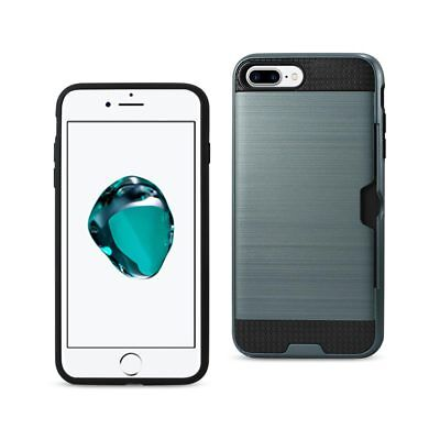 Reiko iPhone 8 Plus/ 7 Plus Slim Armor Hybrid Case With Card Holder In Navy