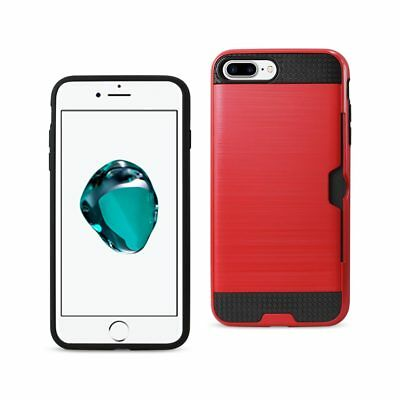 Reiko Iphone 7 Plus Slim Armor Hybrid Case With Card Holder In Red