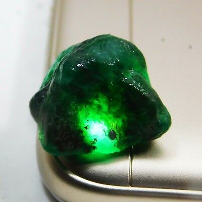 18.50 CT BEAUTIFUL RICH GREEN NATURAL EMERALD ROUGH GEMSTONE. 5189 qwst