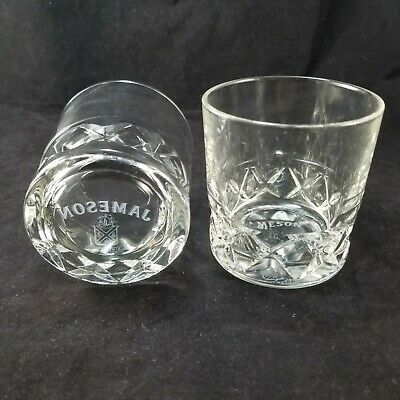 2 RARE JJ&S Jameson Sine Metu Lowball Whiskey Glass Scotch Diamond Textured Base