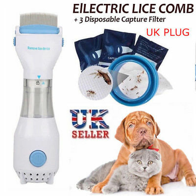 UK Pet Electric Head Lice Removal Treatment Chemical Eliminate Vacuum Comb Tool