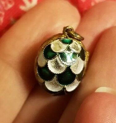 Faberge Egg Pendant, Green And White Egg That Opens With Gold Bear Inside.