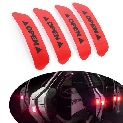 4x Super Red Car Door Open Sticker Reflective Tape Safety Warning Decal Qr