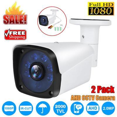 2X 1080P AHD CCTV Camera 2.0MP Waterproof Outdoor Security System Night Vision