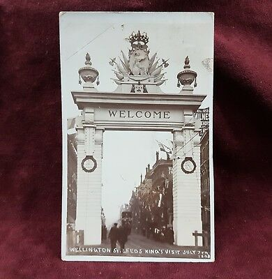 Photo Postcard Post Card 1908 Kings Visit Welcome Arch Leeds