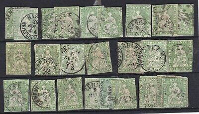 SWITZERLAND (9a109) Card of 25 40rp green fine used - Unchecked - good sorter