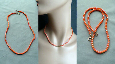 4CCD 珊瑚 antique natural coral necklace Korallenkette Koralle Collier Kette