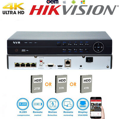 Hikvision 4K Oem Nvr Ds-7604Ni-K1/4P 4Ch Poe 8Mp Security Network Video Recorder