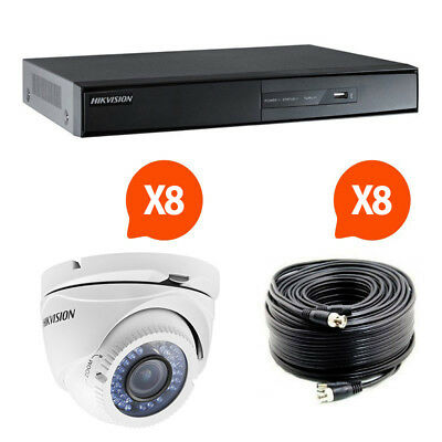 Kit video surveillance Turbo HD Hikvision 8 caméras dôme N°1