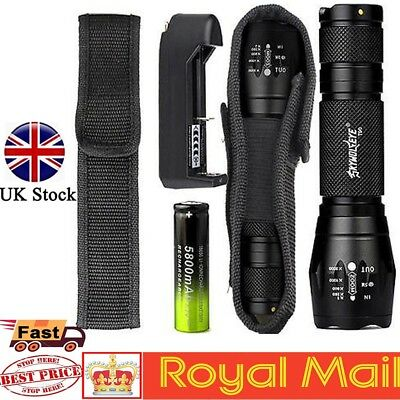 UK Tactical 20000LM T6 Zoomable LED Flashlight Torch Hiking Lamp+18650+Charger