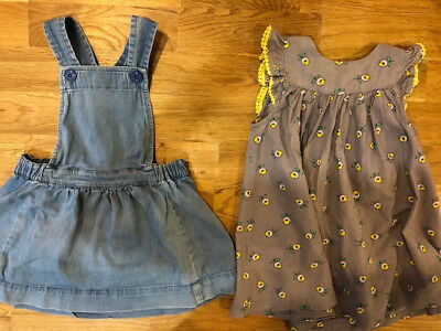 Seed Heritage denim pinafore AND Country Road dress, girls 1-2 years